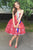 A-Line Strapless Knee-Length Red Lace Prom/Homecoming Dress with Ruffles P22