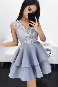 V-neck Lace Applique Satin Sleeveless Layer Homecoming Dress OHM037 | Cathyprom
