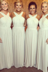 A-Line Cross Neck Floor-Length Ivory Chiffon Bridesmaid Dress with Pleats OHS045 | Cathyprom