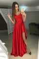 A-Line Scoop Sweep Train Red Satin Prom Dress with Ruffles OHC061 | Cathyprom