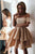 Elegant Off Shoulder Tiered Semi Formal Homecoming Dress OHM042 | Cathyprom