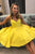 Simple V Neck Yellow Short Homecoming Dresses with Ruched OHM021 | Cathyprom