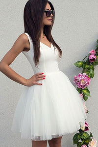 Simple A Line V Neck White Sleeveless Short Tulle Homecoming Dresses with Ruffles OHM092 | Cathyprom