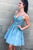 A Line Spaghetti Strap Short Homecoming Dresses with Appliques OHM011 | Cathyprom