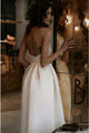 Spaghetti Straps White Prom Dress with Pockets Backless Tea-Length Party Dress PD2