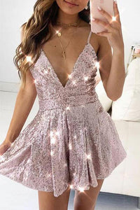 Sequins Short Homecoming Dresses Deep V Neck Cocktail Dresses OHM087 | Cathyprom