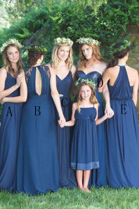 Spaghetti Straps Floor-Length Chiffon Bridesmaid Dress with Pleats OHS071 | Cathyprom