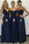 A-Line V-Neck Floor-Length Dark Blue Chiffon Bridesmaid Dress with Lace OHS002 | Cathyprom