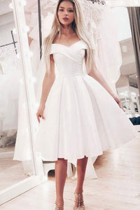 A-Line Off-the-Shoulder White Short Prom Dress with Pleats OHC041 | Cathyprom