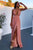 A-Line Deep V-Neck Backless Floor-Length Pink Chiffon Prom Dress with Split CAD60 | Cathyprom