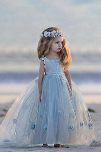Sleeveless Bateau Backless Handmade Flower Tulle A Line Flower Girl Dress OHR038 | Cathyprom