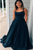 Elegant Simple Sleeves Square Neck Stain Long Prom Dresses Under 100 LPD9