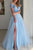 Elegant Prom Dress Off-Shoulder A-Line Tulle Lace Side Slit Sky Blue Prom Dresses Evening Dresses OHC595