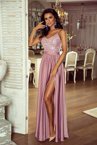 A Line Blush Prom Dress Spaghetti Strap Floor Length Prom Dress Party Dress with Split OHC459 | Cathyprom