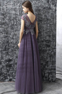 A Line Grey Purple Tulle See Through Long Spring Senior Prom Dress With Sleeves OHC482 | Cathyprom