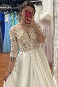 A Line Half-Sleeve Tulle Wedding Dress Custom Made Wedding Gown Bridal Gown OHD172 | Cathyprom
