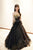 A Line Strapless Black Tulle Gold Lace Sleeveless Long Prom Dress Evening Dress OHC392 | Cathyprom