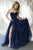 A Line Strapless Sweetheart Navy Blue Tulle Side Slit Long Evening Dress Prom Dress OHC434 | Cathyprom