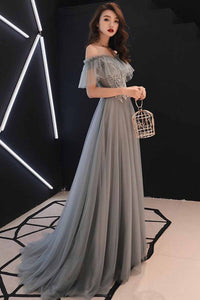 A Line Sweetheart Floor Length Gray Tulle Sweetheart Long Formal Prom Dress With Applique OHC431 | Cathyprom
