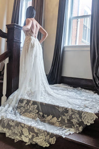 A Line Wedding Dresses with Long Trains Wedding Dress Custom Made Wedding Gown Bridal Gown OHD179 | Cathyprom