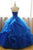Chic Ball Gowns Strapless Royal Blue Sleeveless Beading Applique Long Tulle Prom Dress Evening Dress OHC279 | Cathyprom