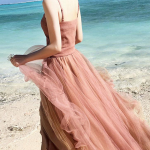 Chic A-line Spaghetti Strap Tea Length Sleeveless Simple Long Tulle Prom Dresses Evening Dress OHC282 | Cathyprom
