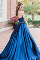 Unique A-line Halter Sleeveless Blue Long Satin Prom Dresses Beaded Formal Dress Evening Gowns OHC297 | Cathyprom