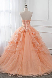 Unique Ball Gown Sweetheart Floor Length Sleeveless Lace Long Tulle Prom Dress Formal Dress OHC290 | Cathyprom
