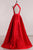 Simple A-line High Neck Sleeveless Open Back Long Satin Prom Dress Evening Dresses  OHC277 | Cathyprom