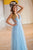 Sparkly A-line V neck Sleeveless Floor Length Modest Blue Long Tulle Prom Dress/Evening Dress OHC284 | Cathyprom