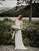 Graceful Illusion Neck Short Sleeve Bohemian Wedding Dress for Bride CA2301|CathyProm