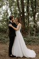 Exquisite Lace Wedding Dress Sexy V-Neck Modest Tulle Wedding Dress Gown CA2302|CathyProm
