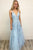 A Line Spaghetti Straps Light Blue Prom Dresses V Neck Lace Appliques Evening Dress CA526