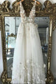 A line 3D Flowers Deep V Neck Ivory Straps Wedding Dresses Simple Boho Bridal Gowns CP619