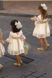 A line Long Sleeve Lace Above Knee Bowknot Flower Girl Dresses OHR027 | Cathyprom
