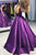 Ball Gown Purple Satin Open Back Long Cap Sleeves Scoop Neck Prom Dresses Evening Dress OHC483 | Cathyprom