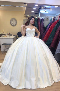Ball Gown Wedding Dresses Long Satin Wedding Dress Custom Made Wedding Gown Bridal Gown OHD180 | Cathyprom