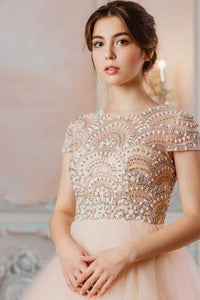 Beautiful A Line Scoop Neck Short Sleeves Beaded Long Tulle Prom Dresses OHC505 | Cathyprom
