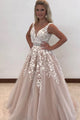 Beautiful A Line Tulle Long V Neck Senior Prom Dress Long Appliques Evening Dress OHC495 | Cathyprom