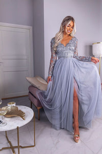 Beautiful A Line V Neck Beading Split Prom Dress Long Sleeves Evening Dresses OHC464 | Cathyprom