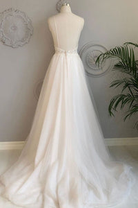 Beautiful A Line White Tulle Backless Long Lace Formal Prom Dress Wedding Dress OHC411 | Cathyprom