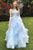 Beautiful Sweet A Line V Neck Sky Blue Ruffles Sleeveless Long Lace Prom Dress OHC408  | Cathyprom