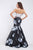 Black Floral Satin Two Piece Sleeveless Long Mermaid Evening Dress Prom Dress OHC468 | Cathyprom