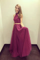 Burgundy Two Pieces High Neck Backless Long Tulle Prom Dress Evening Dresses OHC492 | Cathyprom