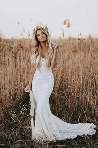 Off the Shoulder Luxury Lace Mermaid Wedding Dress with Sleeves Rustic Wedding Gown CA043|CathyProm