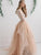 Lace Long Sleeve Champagne Wedding Dress Sexy V-Neck Rustic Wedding Dress Bridal Gown CA045|CathyProm