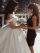Ball Gown Cap Sleeve V-Neck Luxury Wedding Dress Appliques Beaded Birdal Gown CA049|CathyProm