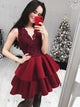 Sexy Deep V-Neck Burgundy Short Homecoming Dress Appliqued Prom Party Dress CA2104|CathyProm