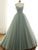 Ball Gown Spaghetti Straps Green Long Prom Dress Modest Tulle Formal Evening Dress CAP51234