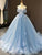 Ball Gown Cap Sleeve Appliques Blue Prom Dress Lace Up Long Prom Evening Dress CAP51237|CathyProm